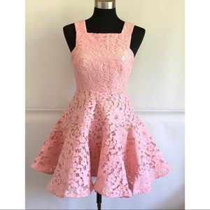 Petite Friendly pink Lace up dress Size: S NWOT